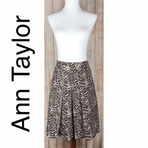 Ann Taylor animal print pleated skirt in brown